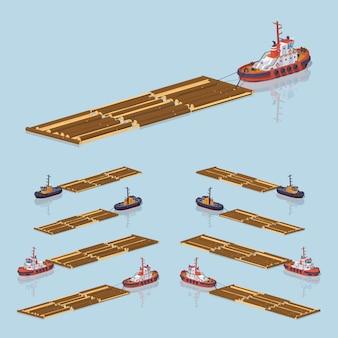 Lowpoly isometrisches 3d-holz, das auf kabel schwimmt