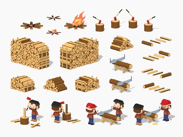 Lowpoly isometrisches brennholz, das durch holzfäller geerntet wird