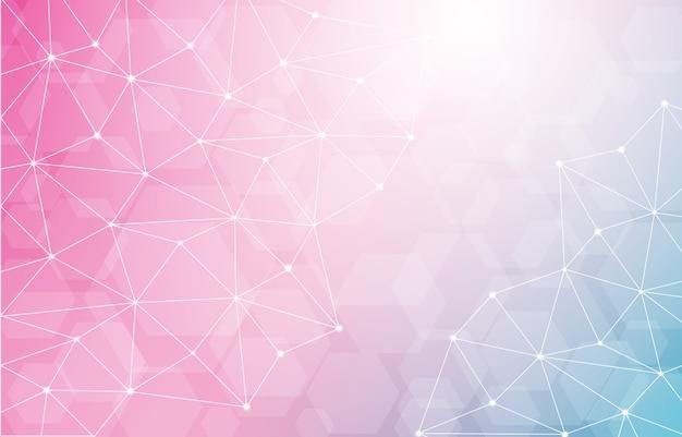 Lowpoly sechseckiger geometrischer polygonaler technologie-zusammenfassungs-hintergrund