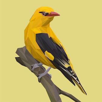 Lowpoly-vektor des indischen goldenen vogels