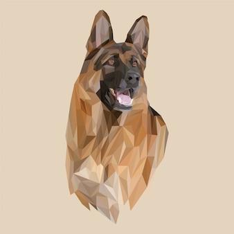 Lowpoly-vektor des schäferhundes