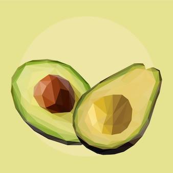 Lowpoly-vektor von avocado-früchten