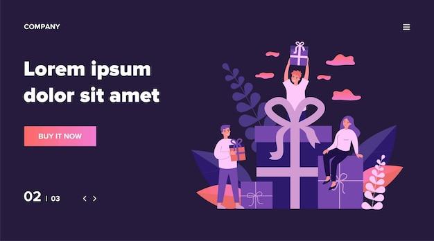 Loyale kunden erhalten geschenke und boni aus dem geschäft. glückliche junge leute, die geschenkboxen erhalten. illustration für belohnung, treueprogramm, werbung, marketingkonzept