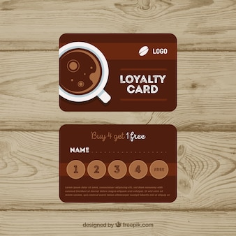 Loyalitätskartenschablone mit kaffeecoupons