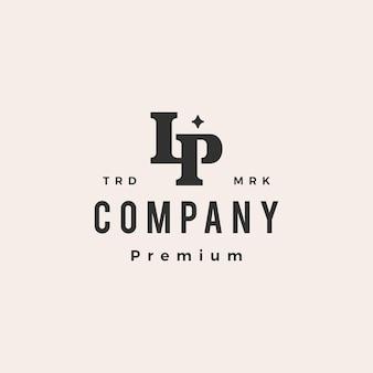 Lp briefmarke initial monogramm hipster vintage logo vorlage