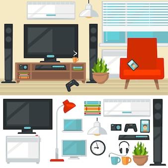 Lt_001konzept des kreativen wohnzimmers mit stuhl und fernseher. modern