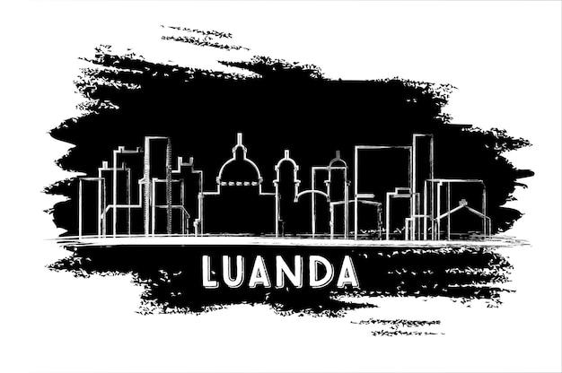 Luanda angola city skyline silhouette. handgezeichnete skizze. illustration