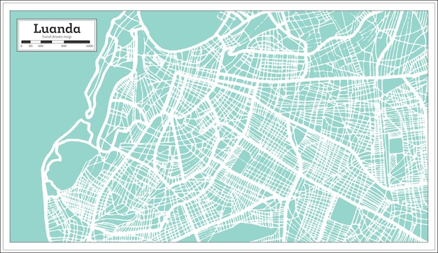 Luanda angola stadtplan im retro-stil. übersichtskarte. vektor-illustration.