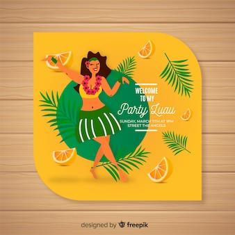 Luau orangen einladungsvorlage