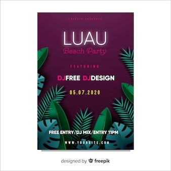 Luau party verlässt plakat vorlage