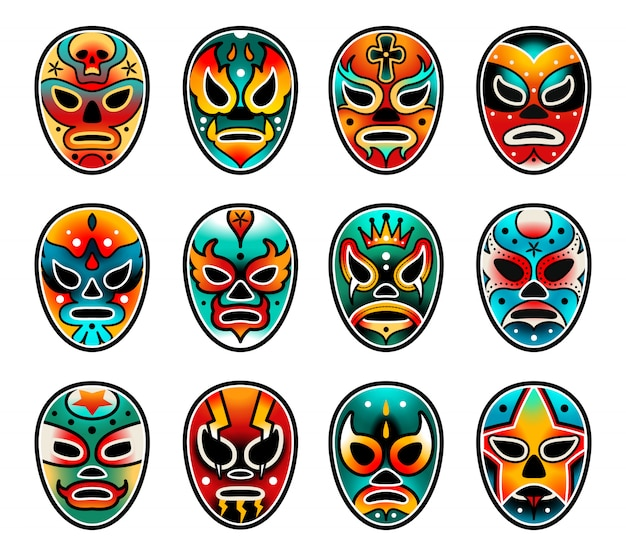 Lucha libre wrestling show masken gesetzt