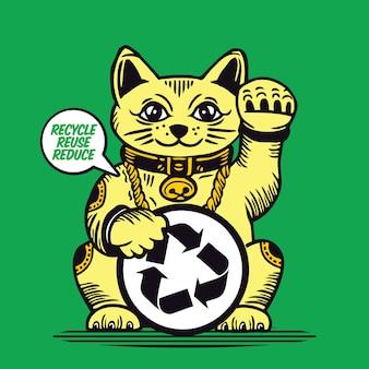Lucky cat recycle wiederverwendung reduzieren sie maneki neko