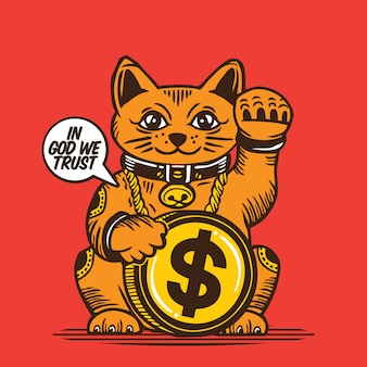 Lucky fortune cat amerikanisches dollar-münzzeichen-design