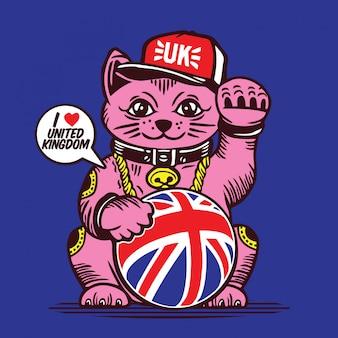Lucky fortune cat union jack großbritannien charakter design