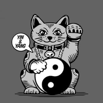 Lucky fortune cat yin yang charakter design