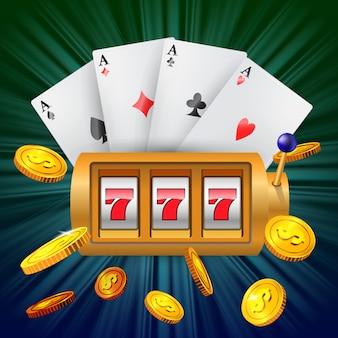 Lucky seven spielautomat, vier asse und fliegende goldene münzen.