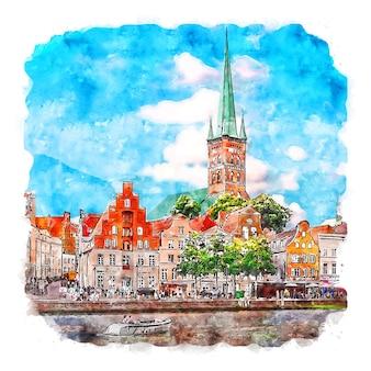 Lübeck deutschland aquarellskizze handgezeichnete illustration