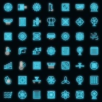 Lüftungssymbole gesetzt. umrisse von lüftungsvektorsymbolen neonfarbe auf schwarz