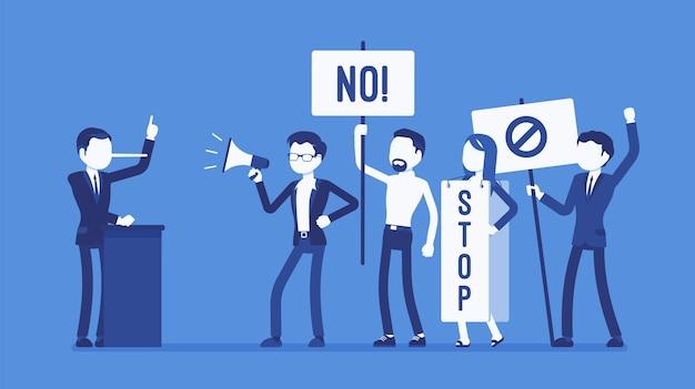 Lügner und leute, die in flachem design protestieren