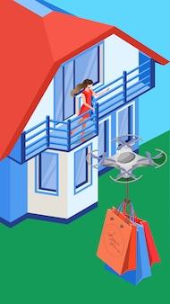 Luft-eilzustellung flache vektor-illustration