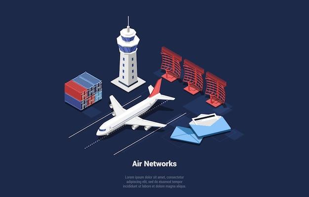 Luft-netzwerk-illustration im cartoon-3d-stil. flugzeug isometrische zusammensetzung