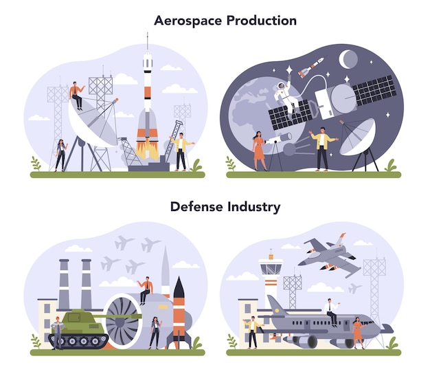 Luft- und raumfahrt- und verteidigungsindustrie eingestellt. produktion und technologie von militär und kosmos. globaler klassifizierungsstandard der branche.