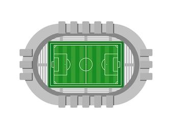 Luftaufnahme des Fußballstadions auf weißem Hintergrund