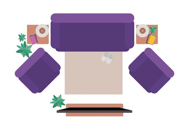 Luftaufnahme des wohnzimmers lokalisierte ikone