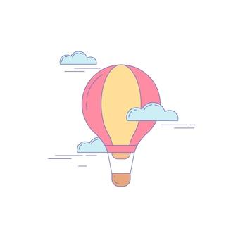 Luftballon-linie-symbol für landing website