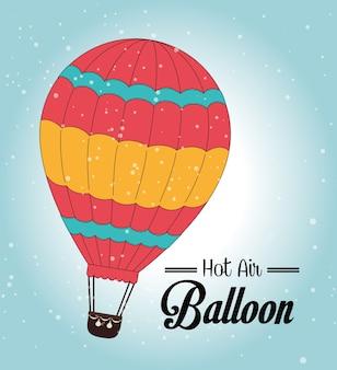 Luftballon über blauer hintergrundvektorillustration