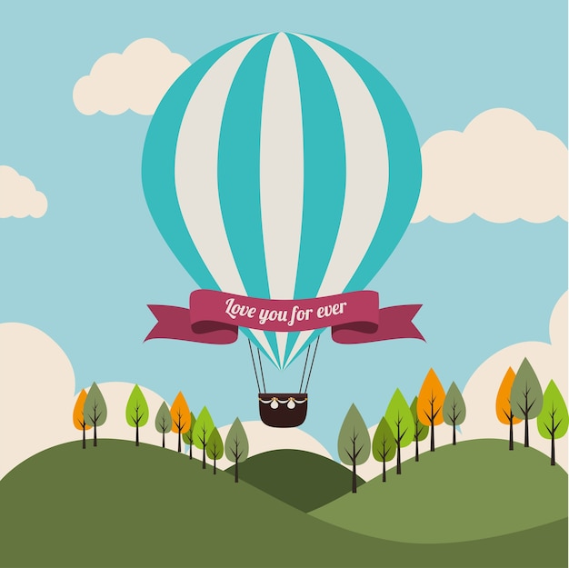 Luftballon über landschaftshintergrund-vektorillustration