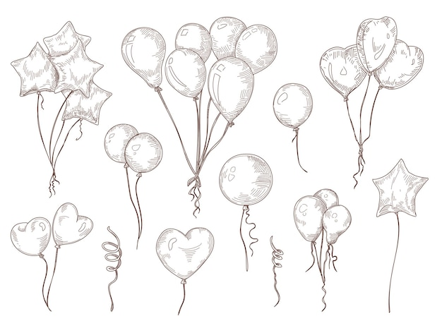 Luftballons auf zeichenfolge handgezeichneten illustrationssatz