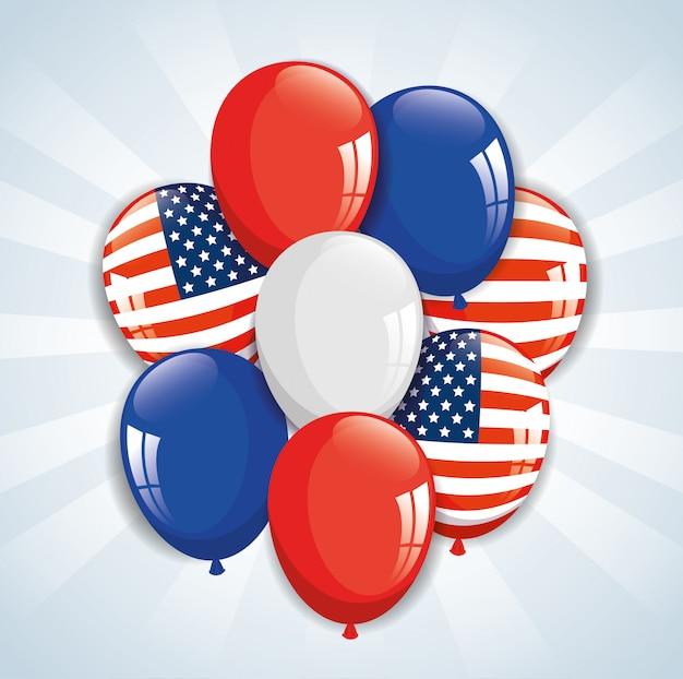 Luftballons helium mit farben und flagge der usa