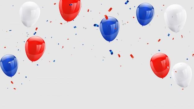Luftballons konfetti und rote und blaue bänder.