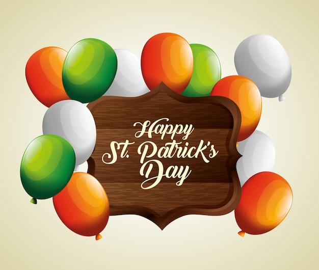 Luftballons mit holzemblem für st. patrick's day