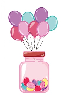 Luftballons und süße süßigkeiten in glasflasche