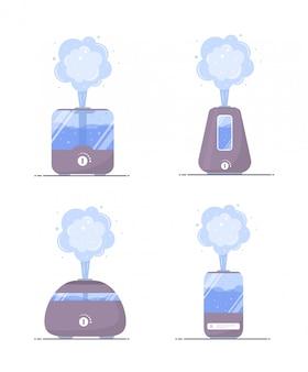 Luftbefeuchter luft symbol. satz ultraschallreiniger mikroklima für zu hause. gesunde luftfeuchtigkeit. moderne illustration im flachen karikaturstil.