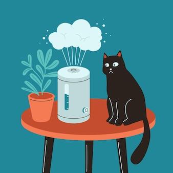 Luftbefeuchter mit zimmerpflanze und schwarzer katze luftreiniger-verdampfer die katze hat angst vor dampf
