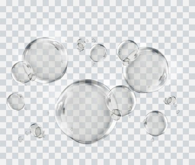 Luftblasen unter wasser, blasenschablone lokalisiert auf transparentem hintergrund