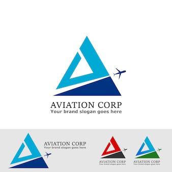 Luftfahrtunternehmenslogo mit flugzeug