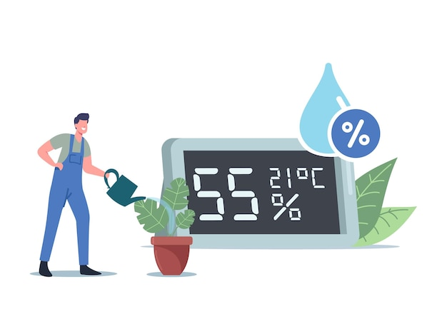 Luftfeuchte-konzept. winzige männliche charakter-bewässerungspflanzen in der nähe eines riesigen hygrometers zeigen atmosphären- und klima- oder mikroklimadaten. mann verwendet digitales modernes thermohygrometer. cartoon-vektor-illustration