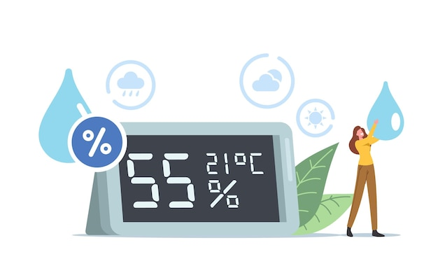 Luftfeuchte-konzept. winzige weibliche figur mit wassertropfen in den händen steht auf der riesigen hygrometer-show-atmosphäre und klima- oder mikroklimadaten. leute verwenden thermohygrometer. cartoon-vektor-illustration