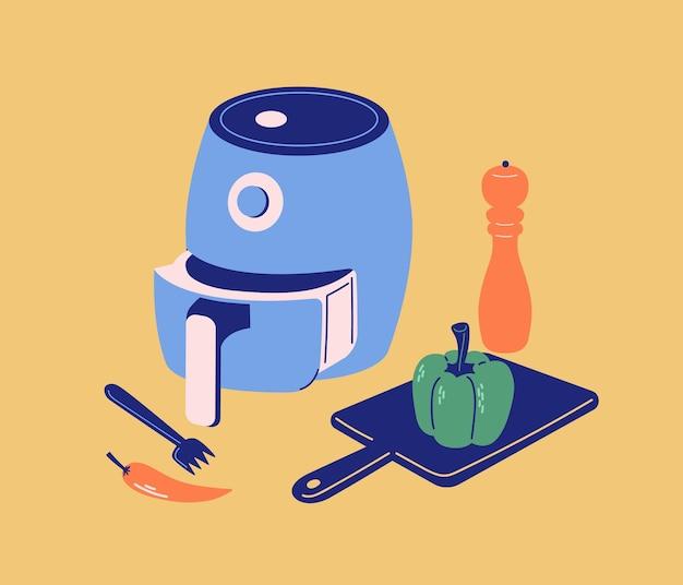 Luftfritteuse intelligentes küchenwerkzeug moderne flache illustration mit pfeffermühlen-gabel-schneidebrett