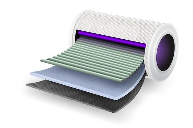 Luftreiniger-filterblatt töten sie das virus mit uv-licht ab. vier schichten fortschrittliche technologiefunktionen kohlenstoffdesinfektion und geruch, spezieller feinfaserfilter, spezielle filterschicht für frischluftfilter.