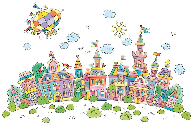 Luftschiff fliegt über hübsche bunte häuser, schlösser, paläste und türme einer alten kleinstadt aus einem märchen an einem sonnigen sommertag cartoon