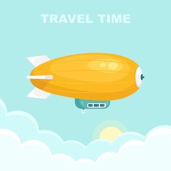 Luftschiff im blauen himmel mit wolken. vintage luftschiff, zeppelin. reisen sie mit dem luftschiff