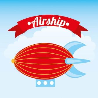 Luftschiffdesign über hintergrundvektorillustration