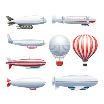 Luftschiffe mit luftschiffen und heißluftballons