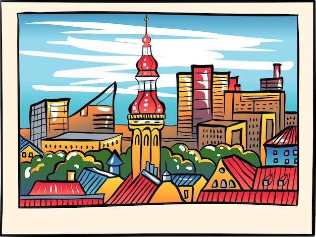 Luftstadtbild mit altem rathausspitz und modernen bürogebäuden wolkenkratzern im hintergrund am abend, im skizzenstil.