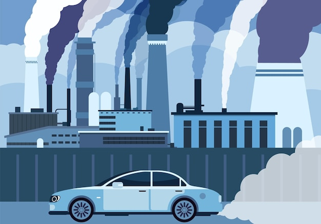 Luftverschmutzung durch autos. auto und fabriken blasen rauch in der stadt